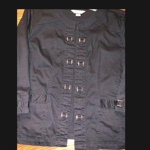 Christopher & Banks 3/4 sleeve L open black jacket